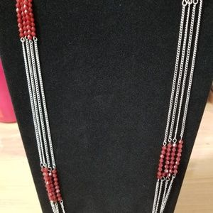 Multi Strand Silver Necklace with Red Beads